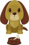 有骨头的狗和宠物碗 免版税库存图片