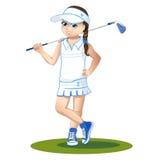 有高尔夫俱乐部的高尔夫球运动员 库存图片