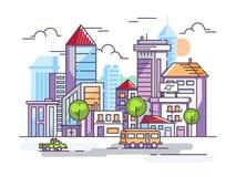 有高房子和汽车的城市街道 免版税库存图片