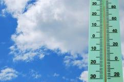 有高温的街道温度计 免版税库存照片