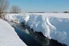有高陡峭的多雪的银行的小河明亮的冬天afterno的 免版税图库摄影