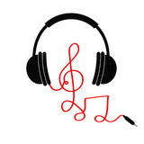 有高音谱号的耳机,注意红色绳子 音乐卡片 平的设计象 被隔绝的白色背景 免版税库存图片