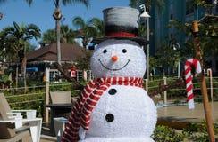 有高顶丝质礼帽克里斯曼庆祝的雪人 库存照片