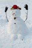 有髭的微笑的雪人 库存照片