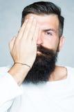 有髭的有胡子的灰发的人 库存照片