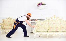 有髭移动的家具的微笑的人在新的舱内甲板 有胡子的工作者拆迁葡萄酒沙发在绝尘室 免版税图库摄影
