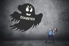 有鬼魂和糖尿病词的蓬松卷发人 免版税图库摄影