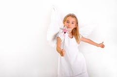 有魔术鞭子的天使女孩 免版税库存图片