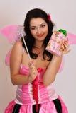 有魔术鞭子的神仙的女孩 免版税库存照片