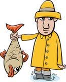 有鱼动画片的钓鱼者 库存照片