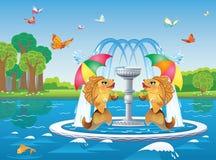 有鱼的喷泉在河的背景的伞下 库存图片