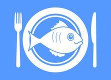 有鱼菜单的板材 免版税库存图片