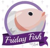 有鱼设计的圆的按钮在借的传统星期五的,传染媒介例证 向量例证