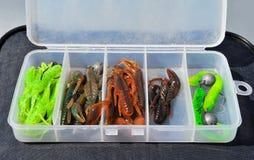 有鱼饵的被打开的箱子 免版税库存图片
