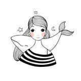 有鲸鱼的美丽的女孩 免版税库存照片