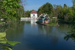 有鸟和鱼的一个美丽的池塘和鸟的一个房子 免版税库存图片