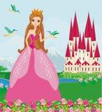 有鸟的公主在庭院里 库存图片
