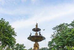 有鸟的喷泉在有天空的城市公园 免版税图库摄影