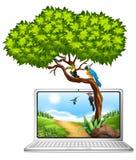 有鸟的屏幕在树 库存例证