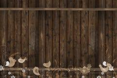 有鸟的木墙壁 皇族释放例证