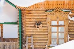 有鸟的椋鸟科房子在一个木大厦的墙壁上 库存照片
