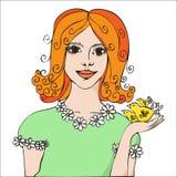 有鸟的红发女孩 库存图片