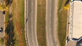 有鸟的飞行的都市路 从直升机的看法 股票视频