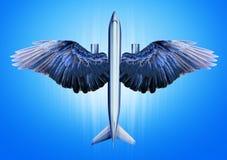 有鸟翼的航空器 免版税库存图片