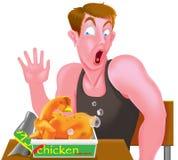 有鸡的人在箱子。 免版税库存照片