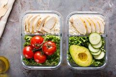 有鸡肉和大米的健康膳食预习功课容器 库存图片