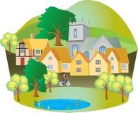 有鸭子池塘的英国村庄 库存例证