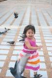 有鸽子牧群的一个逗人喜爱的小女孩  图库摄影