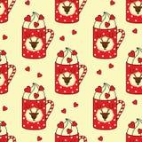 有鹿的,棒棒糖,心脏无缝的样式逗人喜爱的杯子 库存图片