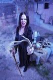 有鹿角的诅咒的巫婆 库存照片