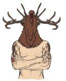 有鹿头的被刺字的人 库存照片
