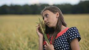有麦子的耳朵的美丽的青少年女孩在麦田的 股票视频