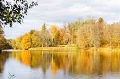 有黄色和红色叶子的秋天公园在池塘附近 图库摄影
