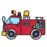 有黄色喇叭花的简单的消防车在白色背景 免版税库存照片