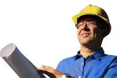 有黄色安全帽的工程师被隔绝在白色背景 库存图片