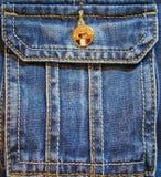 有黄色按钮的牛仔裤口袋 免版税库存图片