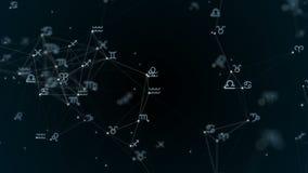 有黄道带标志的,星美丽的结节 形成星座的小组星 圈动画 库存例证