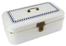 有黄铜锁的老蓝色和白合金现金箱子 免版税库存照片