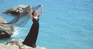 有黑围巾的美女在典雅的黑礼服 股票录像