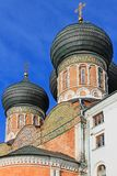 有黑圆顶的东正教在莫斯科俄罗斯Izmailovsky公园绿色春天树背景的  免版税图库摄影