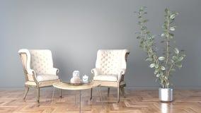 有黑墙壁和两椅子和一个大植物3D例证的最小的客厅 向量例证