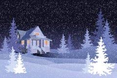 有黑夜空的,传染媒介冬天森林 库存照片