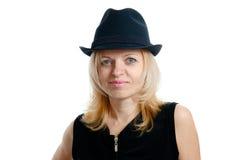 有黑帽会议的妇女 免版税库存照片