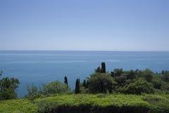 有黑海的美丽的绿色公园在背景中 免版税库存照片