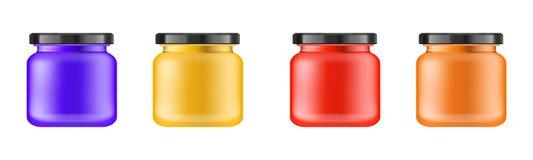 有黑盒盖的现实多彩多姿的暗淡瓶子化妆用品的-润肤膏,油,洗刷,形成胶冻,搽粉 现实包装 向量例证