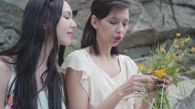 有黑色头发辫子花冠的两美女在与绿色植物的巨大的石头附近 可爱女朋友花费 股票录像